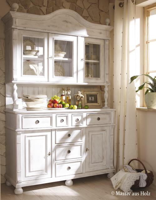 Buffetschrank im Cottage Style - in Shabby Chic Weiß (leicht gewischt)