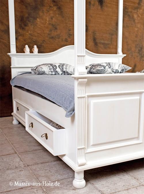 Baldachin Bett Mit Himmel, Landhausstil, Farbe: Antik Weiß, Shabby Chic Mit  Patina