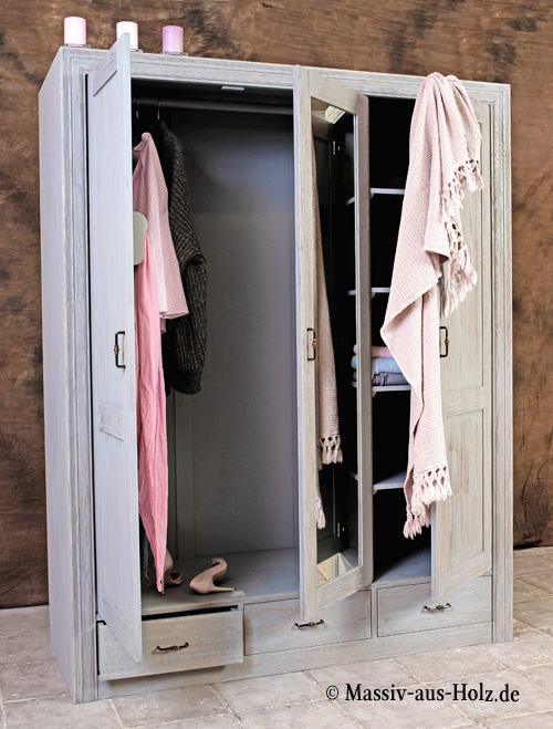Schlafzimmerschrank mit Spiegel Farbe Grau mit Wischeffekt
