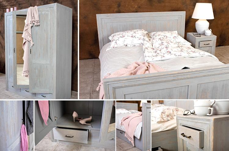 Schlafzimmermöbel aus Massivholz Kiefer in Shabby Chic Grau gebürstet und gewischt