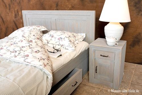 Doppelbett 140x200 cm mit Schubladen in Grau mit Wischeffekt Shabby Chic Stil gebürstet