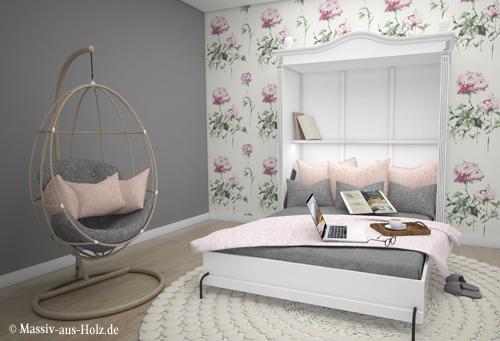 Schrankbett im Landhausstil - individuelle Maßanfertigung wahlweise hoch oder quer, horizontal oder vertikal