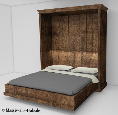 Schrankbett in Braun rustikal horizontal vertikal