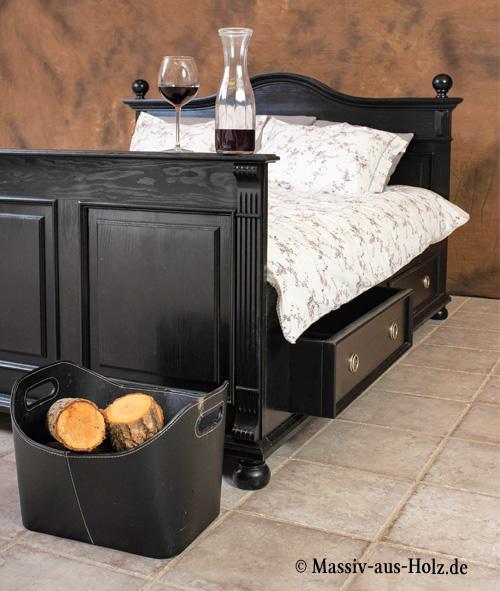 Landhausbett mit Schubladen Farbe Antik schwarz shabby chic