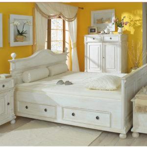 Landhausbett 120x200 cm - Einzelbett mit Schubladen, aus massivem Kiefernholz