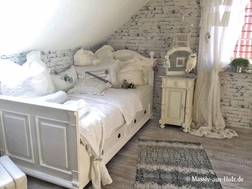 Einzelbett 90x200 cm im Landhausstil in Weiß mit Schubladen