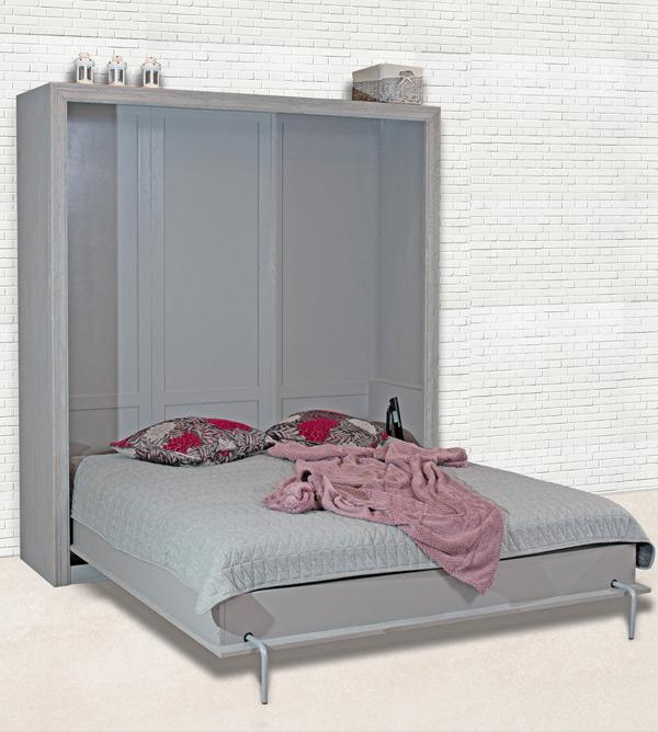 Schrankbett 160x200 Cm Schlicht Lattenrost Ablage Licht Optional