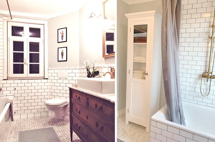 Weiße Vitrine aus Kiefernholz im Badezimmer