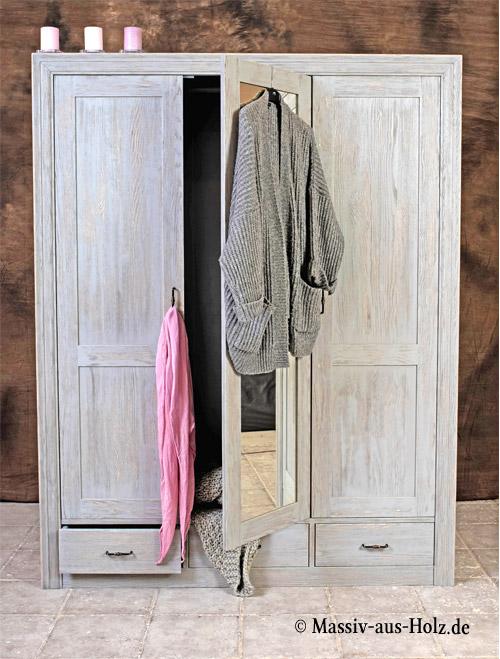 Schlafzimmer-Kleiderschrank-3-tuerig-gross-Spiegel-individuell-grau-shabby-chic-gebuerstet-massiv-Holz-Kiefer-aus-Deutschland-online-kaufen
