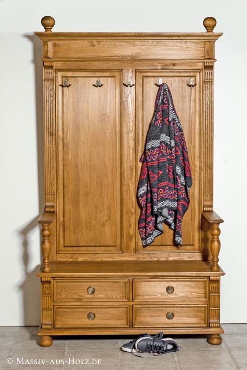 Landhaus Garderobe mit Schubladen, Sitzfläche, Garderobenhaken, 100% Massivholz