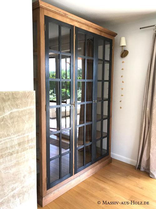 Regal-Bibliothek-Bucherregal-Bucherschrank-Wohnzimmerschrank-Glas-Vitrine-zweifarbig-2-farbig-braun-schwarz
