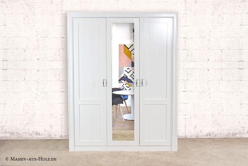 3-türiger Kleiderschrank mit großem Spiegel in Weiß - 100% Kiefer Massivholz