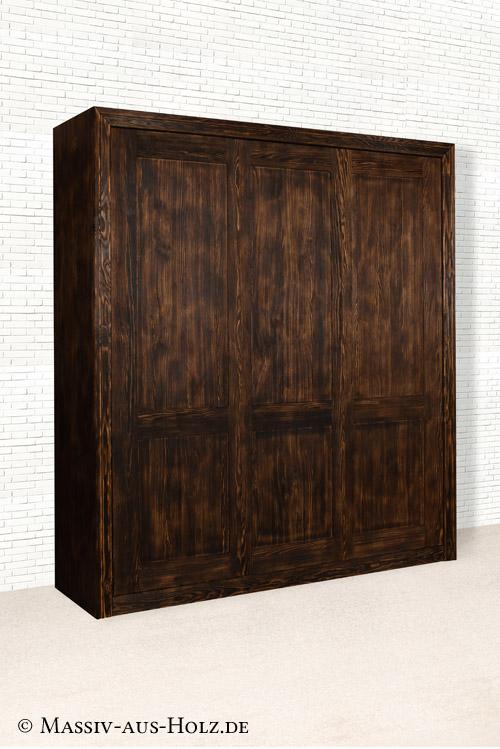 Schlichtes Schrankbett - 100% Qualität und Massivholz, Farbe Antik dunkel