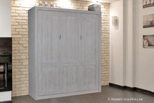 Modernes Schrankbett - 100% Qualität und Massivholz, Farbe Grau rustikal gewischt