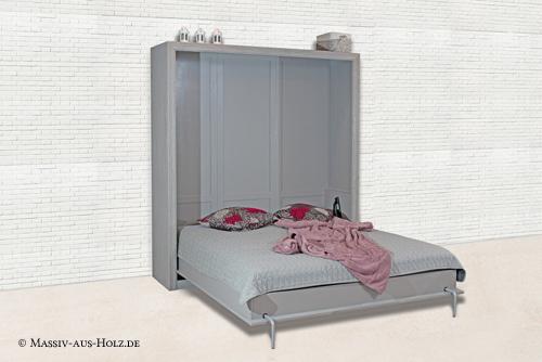 Modernes Schrankbett - 100% Qualität und Massivholz, Farbe Grau gebürstet