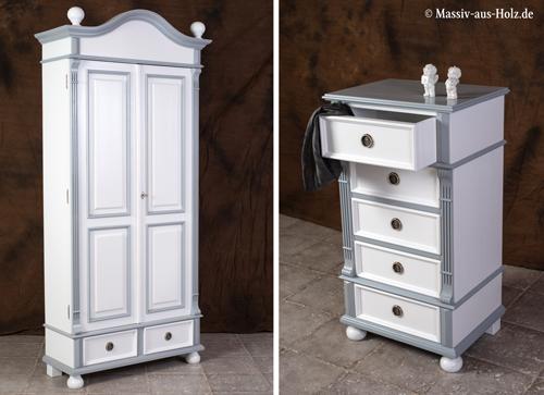 Holzmöbel 2-farbig weiß grau