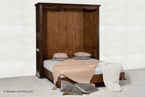 Schrankbett 180x200 cm klassisch in Antik dunkel aus Massivholz