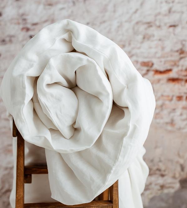 100 Prozent Leinen Bettwäsche in Weiß
