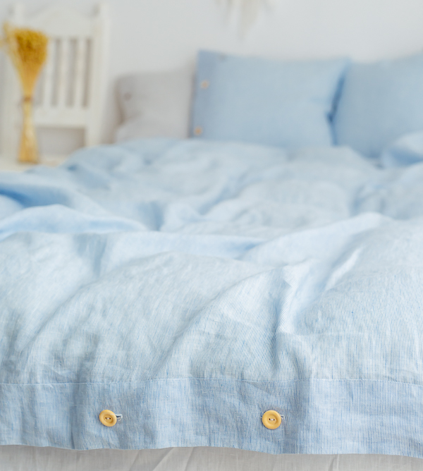 Bettbezug aus Leinen blau