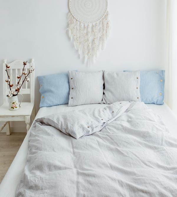 100% Leinen Bettwäsche weiß-grau