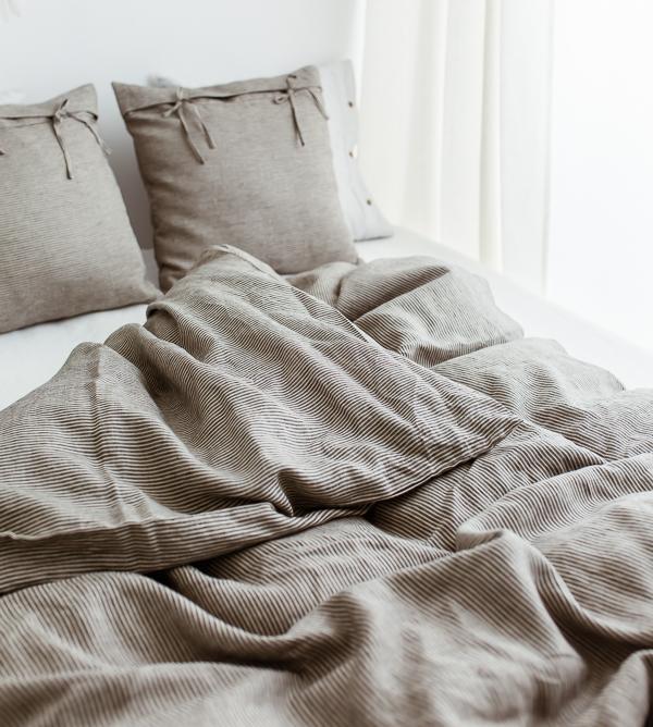 Leinen Bettdecke und Kissen aus Natur Farn Leinen