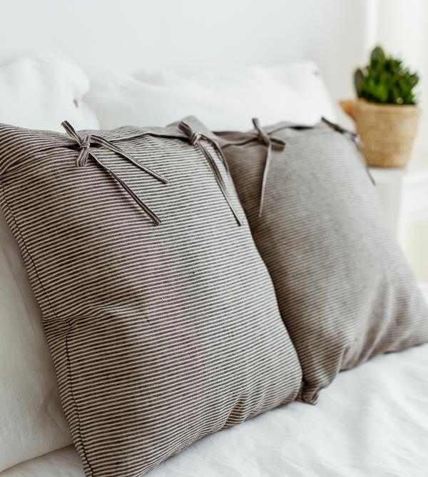 Leinen Bettwäsche - Kissen naturfarben schwarz gestreift