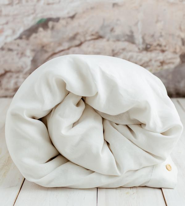 100% Leinen Bettwäsche in Weiß