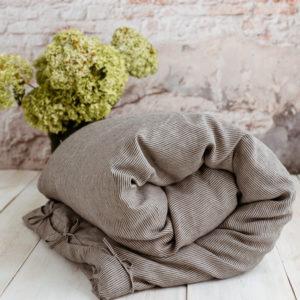 Leinen Bettwäsche naturbeige-schwarz