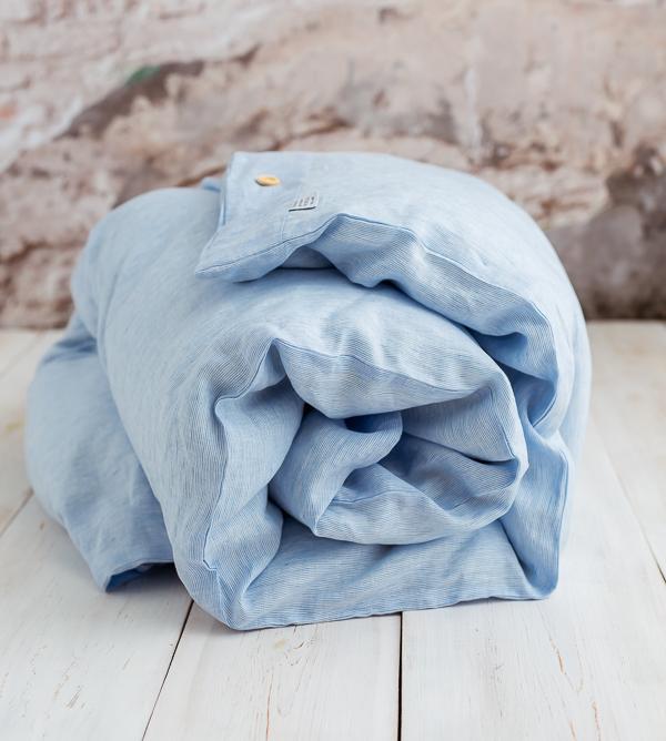 Leinen Bettwäsche weiss hellblau Streifen
