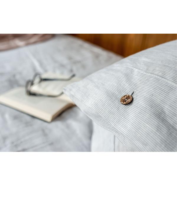 Leinenbettwäsche weiß hellgrau gestreift