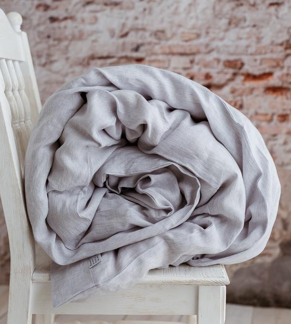 Leinen Bettwäsche grau-weiß