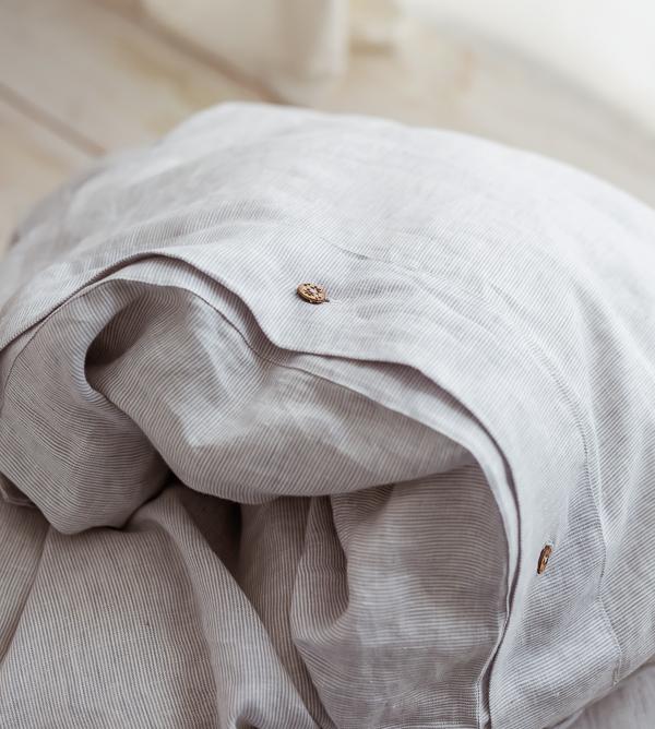 Leinen Bettwäsche hellgrau-weiß