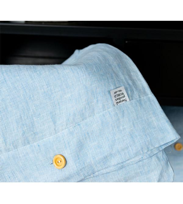 Leinen Bezug Bettwäsche mit Holzknöpfen