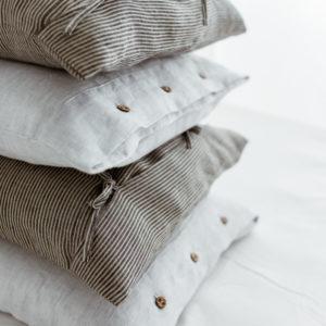 Leinen Kissenbezug - weiß/schwarz