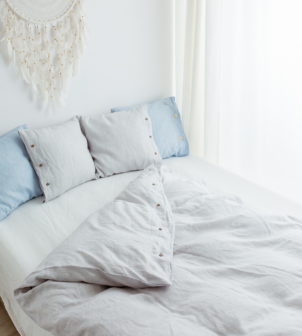Leinen weiß-grau Bettbezug