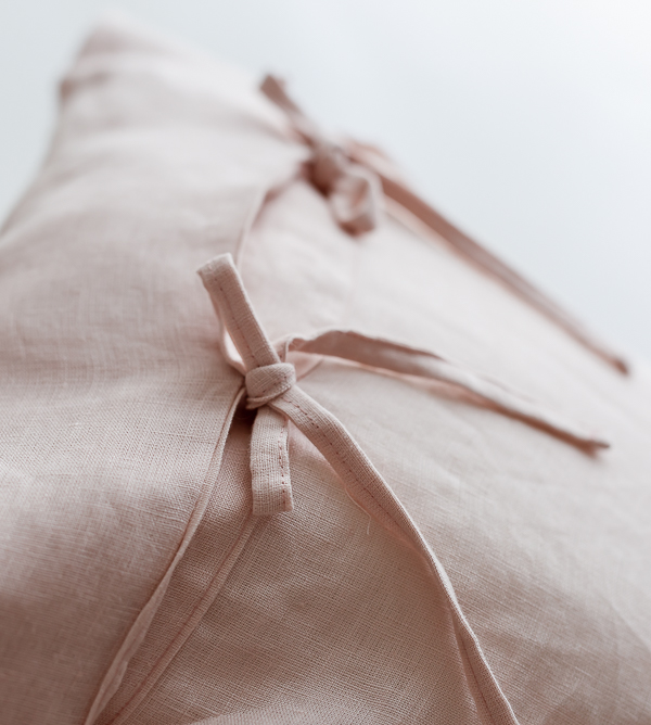 Leinen Bettwäsche - Bettdecke und Kissen rosa