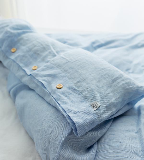 Marineblau Leinen Bettwäsche