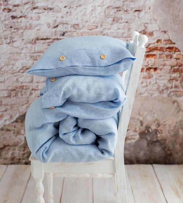 Blauer Leinen-Bettbezug