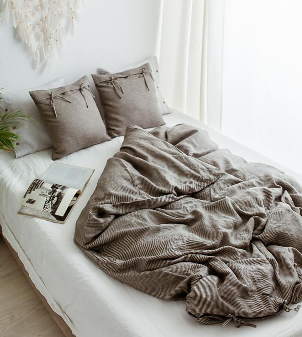 schwarz Leinen Bettwäsche