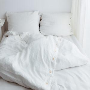 Weiße Leinen Bettwäsche-Set