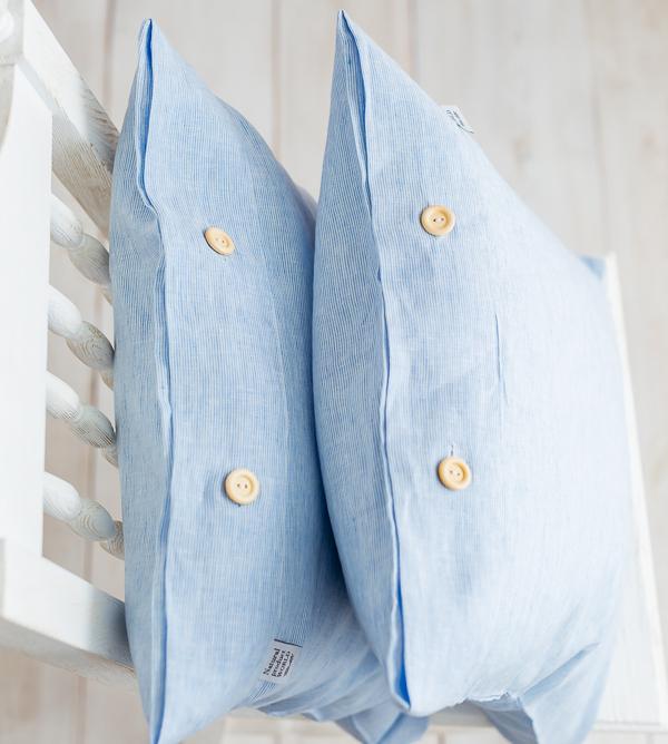 Leinen Kissenbezug blau-weiß