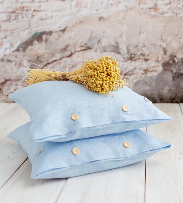 Leinen Kissenbezug hellblau-weiß