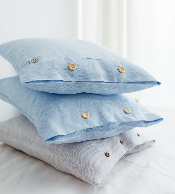 Leinenkissen 2-farbig weiß grau blau