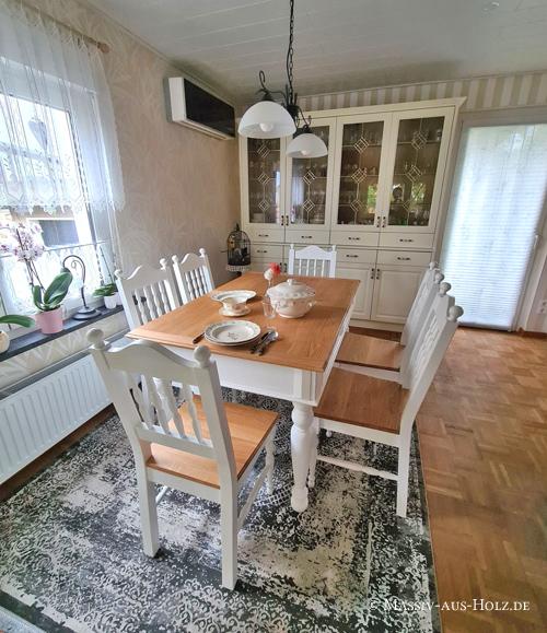 Esszimmer Möbel - Stühle und Ausziehtisch - Weiß-Braun - Eiche massiv
