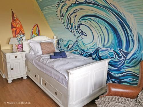 Einzelbett mit Schubladen - Farbe Antik weiß