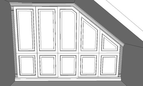 Entwurf für Einbauschrank für Dachschräge