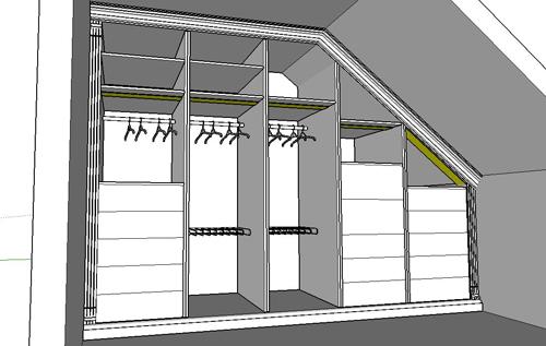 Zeichnung für Kleiderschrank - Entwurf Einbauschrank für Dachschräge