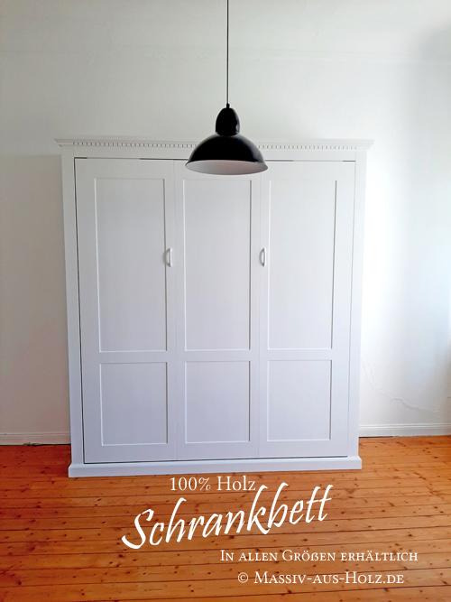 Bett im Schrank - Weiß - 100% Massivholz & Handarbeit