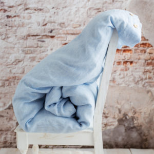 Kinder Bettdecke weiß/hellblau gestreift
