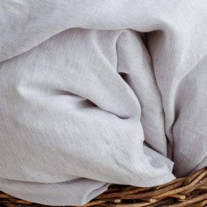 Kinder Bettlaken weiß/hellgrau gestreift